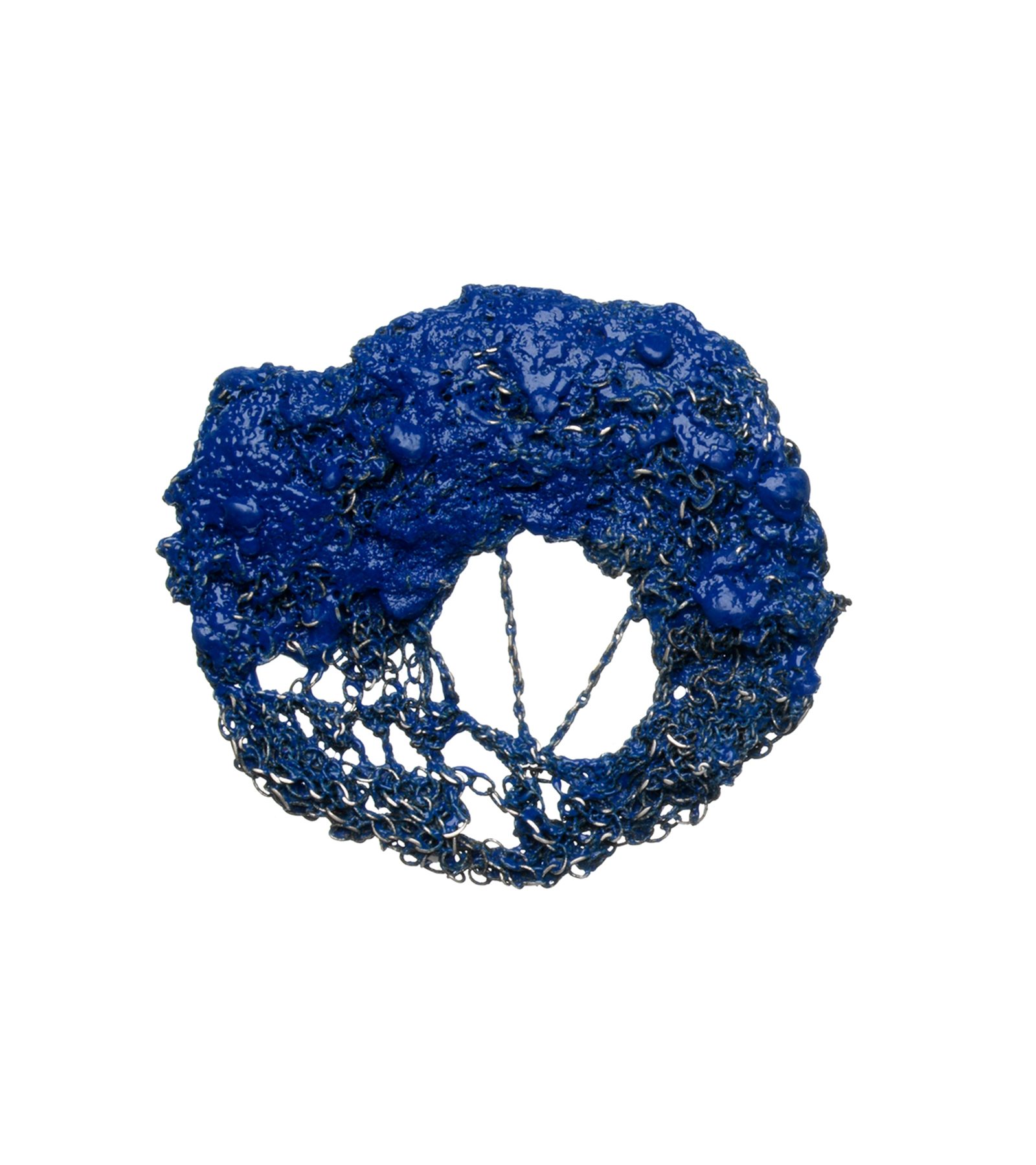 Royal Blue Oval Silver Brooch, 2012